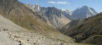 Дорога в нижней части долины реки Караказык Южный. Впереди видна долина реки Кек-Суу.