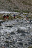 Переправа вброд через разливы реки Караказык Южный.